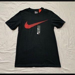 Nike Men's Black Red Swoosh Logo T Shirt